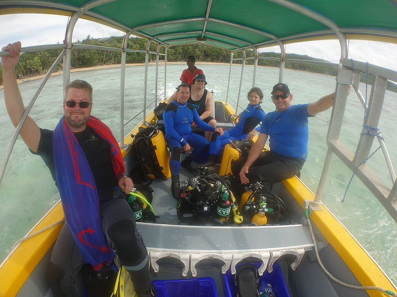 Nick, Gerald, Gunther, Liz and Riaan and rebreathers