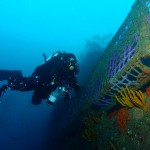 Martin Wallis on rebreather with camera in hand !