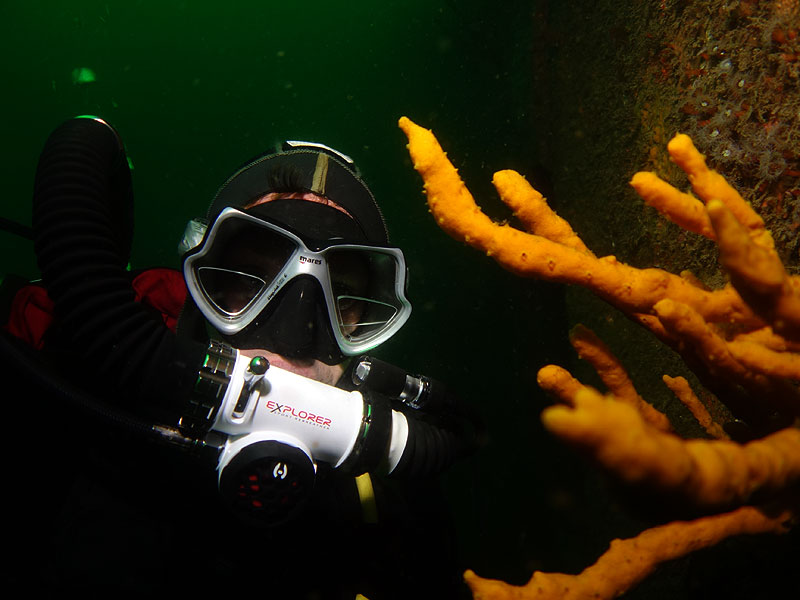 Grant diving Canterbury Wreck on Hollis Explorer Rebreather.