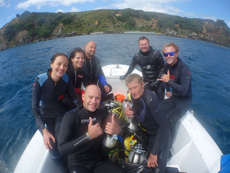 All smiles after diving the Tawharanui Marine Reserve.