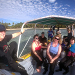 The crew shuttling out to the dive boat from the resort.